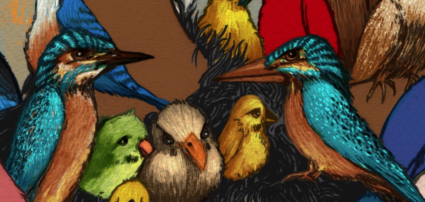 Os pássaros, por fim.
